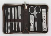 Mens Manicure Set (MMS6) - 8 Piece Brown Mock Croc Travel Manicure Set For Men