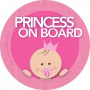 Baby on Board Car Sticker - Brunette Princess on Board - Modern and Unique - Bright Colours