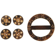 Handmade Wood Buckle & Buttons, Carved Circles 5-Pack