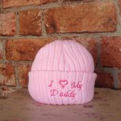 I Love My Daddy Newborn Baby Novelty Slogan Knitted Hat