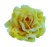 Silk Rose Flower Hair Clip Bridal Wedding 7.6cm .