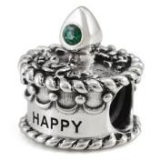 Ohm May Birthstone Crystal Birthday Cake European Bead