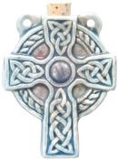 Peruvian Hand Crafted Ceramic Raku Glazed Celtic Cross Bottle Pendant