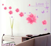 Toprate(TM) Pink Love Flowers Butterfly Wall Sticker Decals PVC Removable Wall Decal For Nursery Girls and Boys Children's Bedroom