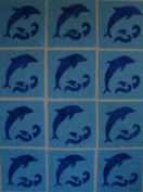 12 Applique Scrap Dolphin Quilt Blocks 17cm Squares