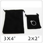 """25x Black Velvet/Velour Jewellery Gift Pouch 5.1cm x 6.4cm Drawstring """""""