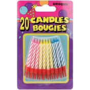 Birthday Candles W/Holders 5.7cm 20/Pkg-Assorted Colour Spirals