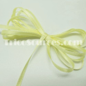 "Craft Ribbon Solid Satin Ribbon Double Faced 1/8""(3mm) x 100YDS light Yellow - B4001YL"