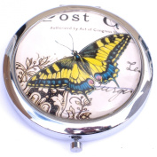 Yellow and Blue Butterfly Round Compact Mirror