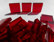 FortySevenGems 100 Pieces Stained Glass Mosaic Tiles 1.3cm Red Cathedral Glass