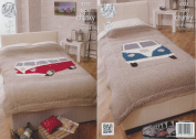 King Cole Home Accessories Chunky Knitting Pattern - Camper Van Style Bedspreads 4323
