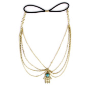 Phenovo Bohemian Head Chain Headband Hair Band 4-Layer Turquoise Pendant