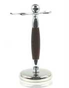 Spitalfields Shaving Company *Premium Grade* Brush and Razor Stand - Millwall 38 - Chrome with Faux Rosewood