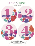 Monthly Baby Stickers, Flowers, Baby Girl