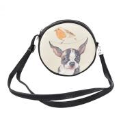 Premium PU Leather Chihuahua Puppy & Bird Round Shoulder Crossbody Bag