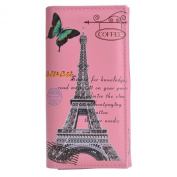 Maybest Women Synthetic Leather Eiffel Tower Long Wallet Card Holder Coin Purse