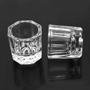 Hrhyme 2Pcs Glass Dappen Dish / Crystal Octogonal Cup Pot Acrylic Nail Art Liquid Powder