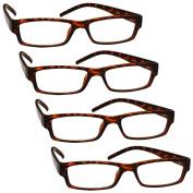 The Reading Glasses Company Brown Tortoiseshell Lightweight Comfortable 4 Pack Designer Style Mens Womens UVR4PK032BR Strength +2.00