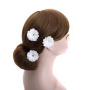 White Daisy Wedding Flower Silver U Pin Hair Accessory,bridal Bridesmaid Flower Hair Clips (B Set