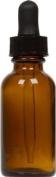 Amber Glass Boston Round Bottle w/ Black Glass Dropper 30ml 6 Pack
