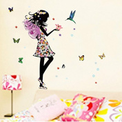 Alrens_DIY(TM)Angel Wings Beautiful Girl Flowers Butterfly DIY Wall Stickers Removable Home Decoration Living Room Bedroom Girl's Room Decor Décor adesivo de parede Self Adhesive Creative Art Mural Decorative Decal