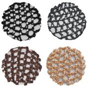 Crochet Bun Hair Net Cover With 30 Rhinestones 4 Pcs Colour Pack