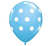 28cm Baby Blue & White Polka Dot Latex Balloon - Set of 6