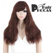 HairPhocas® Medium Long Oblique Bangs Sorrel Curly Hair For Full Hair Wigs