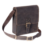 Mens genuine leather messenger bag cross body small accessories travel Billy Brown bag