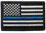 Tactical USA Flag Police Law Enforcement Thin Blue Line Patch - Black & White 5.1cm x 7.6cm hook and loop Backing - By Ranger Return