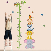 LiveGallery Cartton Tree Branches & Vines Height Chart Measurement Wall Decal Animals Elephant Monkey Growth Charts Wall Stickers Removable DIY art Decor for Girls Boys kids Nursery Baby Playroom