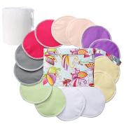 Organic Bamboo Nursing Pads (14 Pack)+Laundry Bag & Travel Bag,2 Sizes:3.9/12cm Option - Reusable Nursing Pads