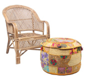 JTH Antique Patchwork Bohemian Blue pouffe Embroidered Footstool Decorative Ottoman (Size