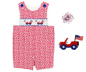 Dana Kids July Fourth Flags & Jeeps Smocked Shortall Baby Boys 6M to 3T
