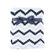 Hudson Baby Super Plush Blanket, Blue Chevron, 80cm x 100cm