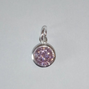 1.9ly Sterling Silver CZ Light Amethyst Crystal 8mm Charm Drop by JensFindings