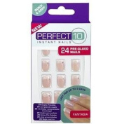 Perfect 10 Decorated French Nails Pre-Glued Decorated Fantasia (Pink) - 4022331