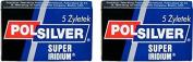 Polsilver Super Iridium Double Edge Safety Razor Blades, 10 blades