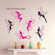 Wallpark Cute Pink Purple Butterfly Fairy Removable Wall Sticker Decal, Children Kids Baby Home Room Nursery DIY Decorative Adhesive Art Wall Mural