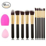 Professional Cosmetic Makeup Brush Kit Soft Synthetic Kabuki Face Foundation Blending Blush Eyeshadow Blush Concealer Powder Brush Kit with Blender Sponge and makeup Clean Tools