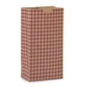 Burgundy Kraft Gingham Gift Sack - 4 1/4 x 2 3/8 x 8 3/16