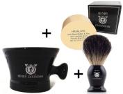Henry Cavendish Himalaya Shaving Soap, Long Lasting 110ml Puck Refill, plus Ceramic Shaving Soap Bowl, plus Gentleman's 100% Pure Badger Hair Shaving Brush.
